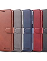 Недорогие -Кейс для Назначение SSamsung Galaxy A6 (2018) / A6+ (2018) / Galaxy A7(2018) Кошелек / Бумажник для карт / Защита от удара Чехол Однотонный Твердый Кожа PU