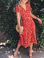 Недорогие -Жен. Уличный стиль Оболочка Платье - Цветочный принт, Пэчворк обернуть Средней длины