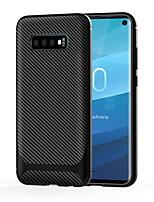 Недорогие -Кейс для Назначение SSamsung Galaxy Galaxy S10 / Galaxy S10 Plus / Galaxy S10 Lite Защита от удара Кейс на заднюю панель Однотонный Мягкий Углеродное волокно