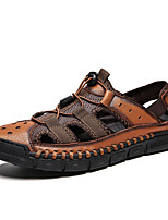cheap -Men's Spring & Summer Classic / British Daily Outdoor Sandals Walking Shoes Leather Breathable Wear Proof Light Brown / Dark Brown / Black