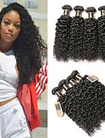 Недорогие -6 Связок Евро-Азиатские волосы Kinky Curly Не подвергавшиеся окрашиванию Человека ткет Волосы Удлинитель Пучок волос 8-28 дюймовый Естественный цвет Ткет человеческих волос / Без запаха