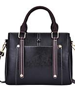 cheap -Women's Zipper PU Top Handle Bag Solid Color Black / Brown / Blue