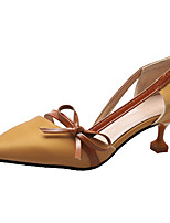 Недорогие -Жен. Обувь на каблуках Балетки На каблуке-рюмочке Бант Полиуретан На каждый день Лето Бежевый / Желтый / Миндальный