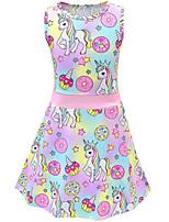 Недорогие -Дети Девочки Активный Симпатичные Стиль Unicorn Радужный Мультипликация Без рукавов До колена Платье Цвет радуги