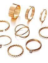 Недорогие -Жен. Цирконий Ring Set европейский Модные кольца Бижутерия Золотой / Серебряный Назначение Свадьба 9pcs