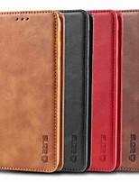 Недорогие -Кейс для Назначение SSamsung Galaxy J6 (2018) / J4 (2018) / Galaxy J4 Plus (2018) Бумажник для карт / Защита от удара / со стендом Чехол Однотонный Твердый Кожа PU