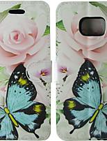 Недорогие -Кейс для Назначение SSamsung Galaxy S8 / S7 / S4 Бумажник для карт / Флип Чехол Однотонный / Бабочка / Цветы Твердый Кожа PU