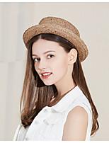 Недорогие -Жен. Классический Симпатичные Стиль Шляпа от солнца Солома,Однотонный Весна Лето Хаки