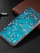 Недорогие -Кейс для Назначение SSamsung Galaxy Galaxy A7(2018) / Galaxy A10 (2019) / Galaxy A30 (2019) Кошелек / Бумажник для карт / со стендом Чехол Цветы Твердый Кожа PU
