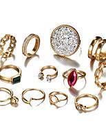 Недорогие -Жен. Цирконий Ring Set европейский Модные кольца Бижутерия Золотой Назначение Свадьба 12шт