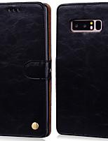 Недорогие -Кейс для Назначение SSamsung Galaxy Note 8 Бумажник для карт / Флип Чехол Однотонный Твердый Кожа PU
