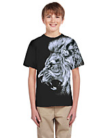 cheap -Kids Boys' Active Punk & Gothic Color Block 3D Animal Short Sleeve Tee Black