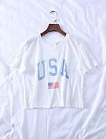 Недорогие -Взрослые Жен. Косплей Американский флаг Косплэй Kостюмы Как у футболки Назначение Halloween На каждый день Хлопок День независимости Футболка