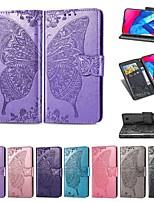 Недорогие -Кейс для Назначение SSamsung Galaxy Galaxy M10 (2019) / Galaxy M20(2019) / Galaxy M30(2019) Кошелек / Бумажник для карт / Защита от удара Чехол Однотонный / Бабочка Твердый Кожа PU