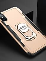 Недорогие -Кейс для Назначение Apple iPhone XS / iPhone XR / iPhone XS Max Защита от удара / Кольца-держатели Кейс на заднюю панель Однотонный Твердый ПК