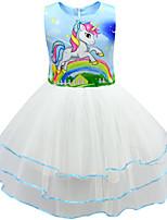 cheap -Kids Girls' Active Cute Unicorn Patchwork Cartoon Layered Mesh Sleeveless Knee-length Dress Blushing Pink