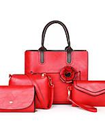 cheap -Women's Flower PU Bag Set Solid Color 4 Pieces Purse Set Black / Sillver Gray / Brown