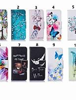 Недорогие -Кейс для Назначение SSamsung Galaxy A6 (2018) / A6+ (2018) / Galaxy A7(2018) Кошелек / со стендом / Флип Чехол Бабочка / дерево / Цветы Твердый Кожа PU