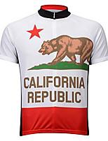 Недорогие -21Grams Калифорния Муж. С короткими рукавами Велокофты - Красный / Белый Велоспорт Джерси Верхняя часть Дышащий Влагоотводящие Быстровысыхающий Виды спорта Терилен Горные велосипеды Одежда