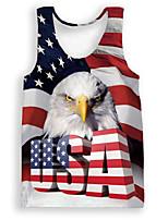 Недорогие -Взрослые Муж. Косплей Американский флаг Косплэй Kостюмы Жилет Назначение Halloween На каждый день Полиэстер День независимости Жилетка