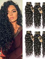 Недорогие -6 Связок Бразильские волосы Волнистые Не подвергавшиеся окрашиванию Человека ткет Волосы Пучок волос One Pack Solution 8-28 дюймовый Естественный цвет Ткет человеческих волос