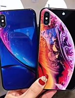 Недорогие -Кейс для Назначение Apple iPhone XS / iPhone XR / iPhone XS Max Зеркальная поверхность / С узором Кейс на заднюю панель Геометрический рисунок Твердый Закаленное стекло