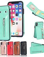 Недорогие -чехол для apple iphone xs max / iphone 8 plus течет жидкость / противоударный / держатель карты задняя крышка сплошная мягкая натуральная кожа для iphone 7/7 plus / 8/6/6 plus / xr / x / xs