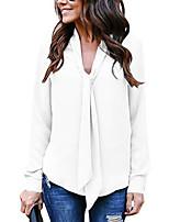 Недорогие -Жен. Блуза V-образный вырез Свободный силуэт Однотонный Бежевый