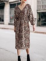 Недорогие -Жен. Классический Шинуазери (китайский стиль) А-силуэт С летящей юбкой Платье - Леопард Контрастных цветов, С принтом Средней длины