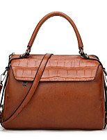 cheap -Women's Polyester / PU Top Handle Bag Solid Color Brown / Wine / Coffee