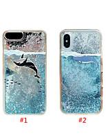 Недорогие -чехол для яблока iphone xs max / iphone 8 plus diy / протекающая жидкость / противоударная задняя крышка для животных / блестящий блеск жесткий тпу для iphone 7/7 plus / 8/6/6 plus / xr / x / xs