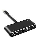 Недорогие -litbest usb-c digital av multiport адаптер usb 3.1 тип c до 3.5 мм аудио / usb 3.0 / vga / hdmi 2.0 usb-концентратор 5 портов поддерживают функцию подачи питания