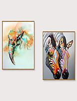 Недорогие -Отпечаток в раме Набор в раме - Животные Поп-арт Полистирен Иллюстрации Предметы искусства