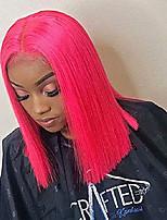 Недорогие -Синтетические кружевные передние парики Прямой Стиль Средняя часть Лента спереди Парик Розовый Розовый + Красный Искусственные волосы 10-12 дюймовый Жен. Регулируется / Жаропрочная / Для вечеринок