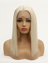 Недорогие -Синтетические кружевные передние парики Прямой Стиль Средняя часть Лента спереди Парик Белый Коричневый / Белый Искусственные волосы 8-26 дюймовый Жен. синтетический Белый Парик Средняя длина 130