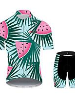 Недорогие -21Grams Цветочные ботанический Гавайи Муж. С короткими рукавами Велокофты и велошорты - Розовый + зеленый Велоспорт Наборы одежды Дышащий Влагоотводящие Быстровысыхающий Виды спорта 100% полиэстер