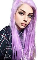 Недорогие -Синтетические кружевные передние парики Прямой Стиль Средняя часть Лента спереди Парик Фиолетовый Фиолетовый Искусственные волосы 18-26 дюймовый Жен. Регулируется / Жаропрочная / Для вечеринок