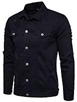 Недорогие -Муж. Повседневные Обычная Куртка, Однотонный Отложной Длинный рукав Полиэстер Белый / Черный / Красный / Тонкие