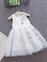Недорогие -Дети Дети (1-4 лет) Девочки Активный Уличный стиль Цветочный принт Без рукавов До колена Платье Белый