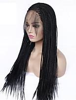 Недорогие -Спиральные плетенки / Синтетические кружевные передние парики / Маскарадные парики Косые оплетки Стиль тесьма Лента спереди Парик Черный Черный Искусственные волосы 24 дюймовый Жен.