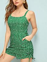 Недорогие -Жен. Классический / Уличный стиль Зеленый Комбинезоны, Горошек / Цветочный принт Бант M L XL