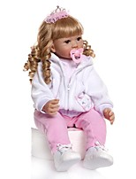 cheap -NPKCOLLECTION Reborn Toddler Doll Baby Girl 24 inch Gift Hand Made Artificial Implantation Blue Eyes Kid's Girls' Toy Gift