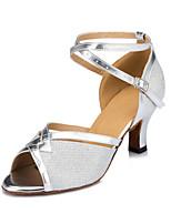 Недорогие -Жен. Синтетика Обувь для латины Планка На каблуках Кубинский каблук Персонализируемая Серебряный