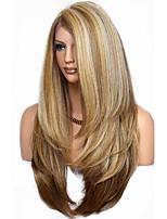 Недорогие -Парики из искусственных волос Естественный прямой Стиль Стрижка каскад Без шапочки-основы Парик Коричневый Льняной Искусственные волосы 68~72 дюймовый Жен. Новое поступление Коричневый Парик