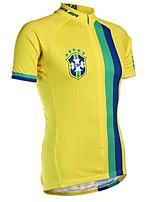 Недорогие -21Grams Бразилия Флаги Муж. С короткими рукавами Велокофты - Желтый Велоспорт Джерси Верхняя часть Дышащий Влагоотводящие Быстровысыхающий Виды спорта Терилен Горные велосипеды Шоссейные велосипеды
