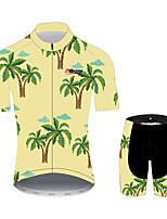 Недорогие -21Grams Пальма Гавайи Муж. С короткими рукавами Велокофты и велошорты - Зеленый  / желтый Велоспорт Наборы одежды Дышащий Влагоотводящие Быстровысыхающий Виды спорта 100% полиэстер Горные велосипеды