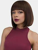 Недорогие -Парики из искусственных волос Прямой Стиль Аккуратная челка Без шапочки-основы Парик Светло-коричневый Средний коричневый Искусственные волосы 8 дюймовый Жен. Женский / синтетический Светло-коричневый