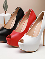 cheap -Women's Wedding Shoes Platform Peep Toe Vintage Sexy Roman Shoes Party & Evening Office & Career PU Solid Colored White Black Red