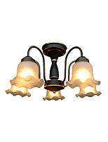Недорогие -стеклянные люстры американский кантри подвесные светильники круглые 5 ламп антикварный потолочный светильник полу скрытого монтажа для прихожей кабинет