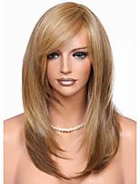 Недорогие -Парики из искусственных волос Естественный прямой Стиль Стрижка каскад Без шапочки-основы Парик Коричневый Льняной Искусственные волосы 48~52 дюймовый Жен. Новое поступление Коричневый Парик